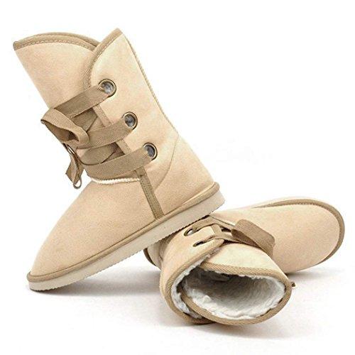 Minetom Femme Hiver Fausse Fourrure Cheville Boucle Lace Up Bottes De Chaleureux Neige Chaussures Beige