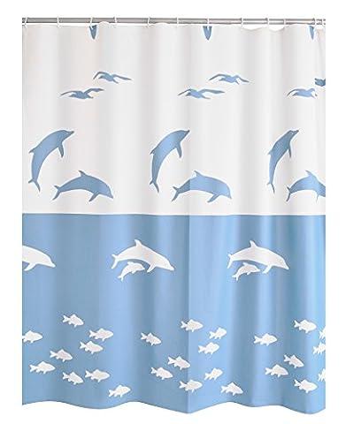 Ridder 323330-350 Rideau de Douche Flipper avec Anneaux PEVA Bleu 180 x 200 cm