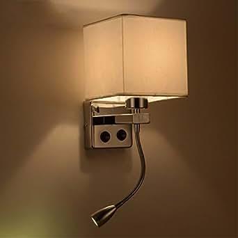Yjnb breve moderno posto letto appliques lampade da parete con luce di lettura a led per tubo - Lampade da lettura a letto ...