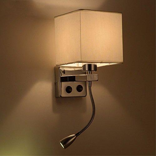 Plug-in Pendelleuchte-lampen (ZHZHCO Moderne Kurze Bett Wandleuchten Wandleuchten Mit Led-Leselampe Für Schlafzimmer Schlauch Kipphebel Lesen Beleuchtung Stoff Lampenschirm)
