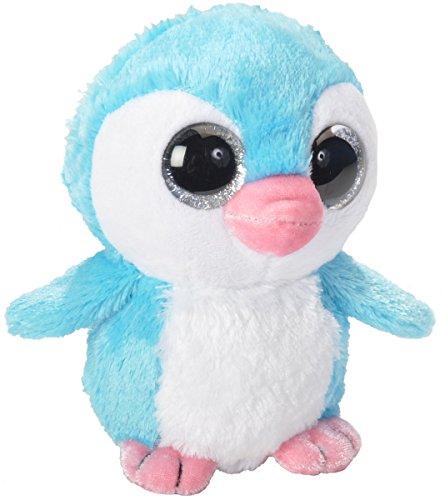 Lashuma Sweet and Sassy blauer Pinguin Plüschtier mit Glitzeraugen, Kuscheltier stehend ca. 13 cm (Eisprinzessin Auge)