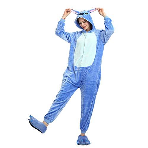 Rollenspiele Cartoon Kostüm Blaue Stiche Halloween Tier Erwachsene Pyjamas Flanellstich Einteilige Männer Und Frauen Winter Coral Fleece Home Service,Blau,L (Stiche Kind Kostüm)
