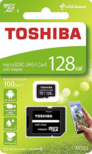 Toshiba M203 128GB Class 10 MicroSDXC Memory Card with Adapter (THN-M203K1280A2)