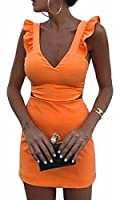 Generic Womens Deep V-neck Ruffle Sleeveless Crop Top Skirts 2 Pieces Set L 1
