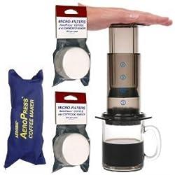 Aeropress Coffee & Espresso Maker with Zippered Nylon Tote Bag With Bonus 350Micro Filters by Aerobie
