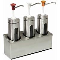 Dispensador de salsa de Juego de cristal & Acero inoxidable, con botón de distancia