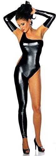schwarz Stretch Wet Look One Leg Jumpsuit Catsuit Spielanzug Bodysuit Club Wear Fancy Kleid Kostüm Gr. UK 10–12EU 38–40 (Leg Kostüme)