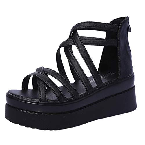 feiXIANG Sandali Estive Scarpe Donna Eleganti con Tacco Basso Sexy Casual Pantofole da Lavoro Moda Peep Toe Sandali con Cinturino alla Caviglia Elegante Flats
