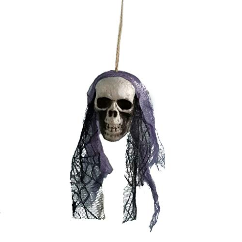 Horror Scary Halloween Foam Skull mit schwarzer Spitze und Blumen Hängende Dekoration Requisiten Home Garden Hang Skull von Iswell (Diy Halloween Requisiten Beängstigend)