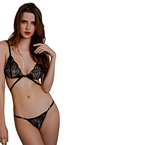 Femmes Lingerie Sexy, Corset Lace Bandage Push Up Soutien-gorge Haut + Ensemble Sous-Vêtements Pantalon (Taille: S, Noir)