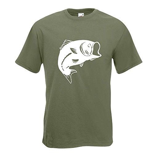 KIWISTAR - Fisch Lachs Karpfen T-Shirt in 15 verschiedenen Farben - Herren Funshirt bedruckt Design Sprüche Spruch Motive Oberteil Baumwolle Print Größe S M L XL XXL Olive