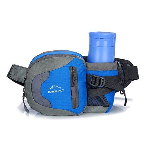Pawaca Taille Tasche wasserdicht Sport, Gürtel mit Wasser-Trinkflasche, Fanny Pack mit Flaschenhalter für Camping, Wandern, Radfahren und Klettern Reisen blau (Fanny-packs Wasser-flaschen)