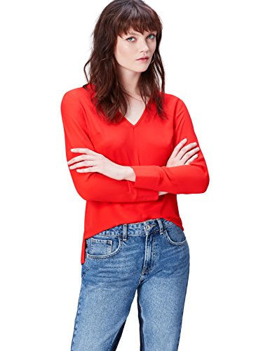 Find. V Neck Blusa para Mujer, Rojo Fiery Red 18-1664, 40 Talla del Fabricante: Medium