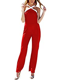 Mujer Fiesta Mono Vestir sin Mangas Ladies Jumpsuits para Mujer Going Out Color Bloque Cruzar Pantalones