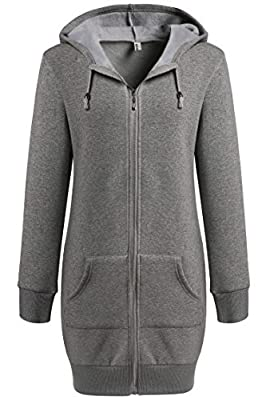 Zeagoo Women Sport Casual Zipper Longline Hoodies Sweatshirt Tunic Top With Fleece