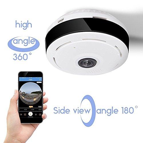 D3D 360°-Panorama-Überwachungskamera für zuhause, 1,3 MP, mit zwei-Wege-Audio, Nachtsicht, passende Apps für iOS und Android verfügbar, für Live-Übertragung (unterstützt 128-GB-Micro-SD-Karte)