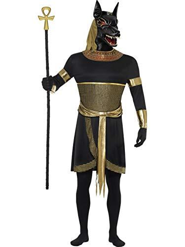 Luxuspiraten - Herren Männer ägyptischer Gott Anubis der Schakal Kostüm mit Tunika, Kragen, Maske, Armstulpen und Bänder, perfekt für Karneval, Fasching und Fastnacht, M, Schwarz