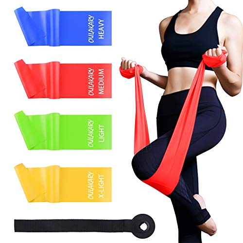Fitnessbänder 4er-Set 2m, Extra Lange Theraband Set Fitnessband Gymnastikband Widerstandsbänder mit 4-Stärken(Leicht, MIttel, Schwer, X-Schwer) Trainingsband für Yoga, Pilates, Reha, Physiotherapie -