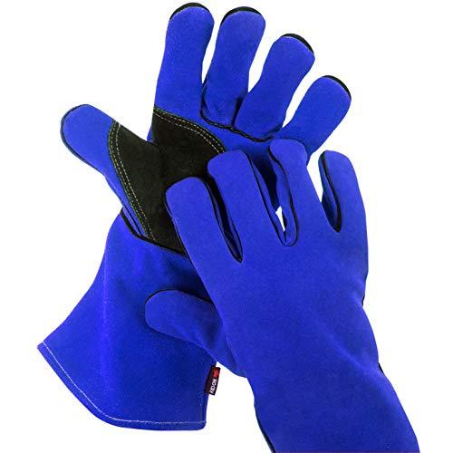 NoCry Hitze- und flammenresistente Schweißerhandschuhe, auch als Grillhandschuhe geeignet, Premium-Rindsleder, 35 cm Unterarmschutz, Blau (Large)