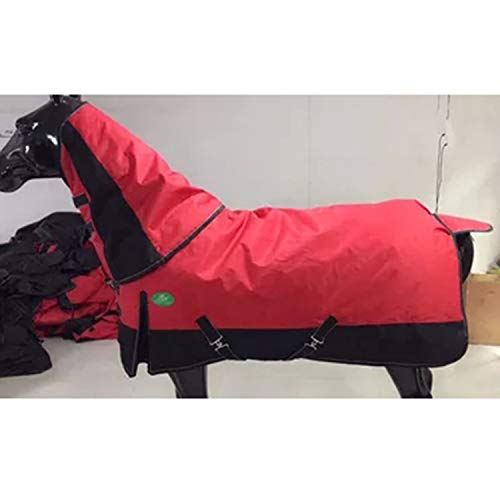 LOVEPET Winter Pferd Decke Cotton Horse Decke dick warm wasserdicht, Regen, Wind, Träne Kragen, Abnehmbare Ausschnitt, Tail Cap, rot