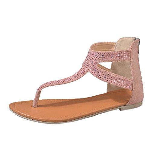 Sandalen Damen,Binggong Frauen Diamant Zipper Gladiator Low Flachen Flip Flops Strand Sandalen Böhmen Schuhe Roma Kreuz Sandalen leder sandalen damen flach (36 EU, Rosa) - Diamant Flip-flop-sandale