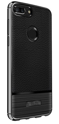 Huawei P Smart Case, ELESNOW Premium TPU Bumper Style Ultra Slim [Litchi Pattern ] [Metal Brushed Texture] Slim Fit Flexible Lightweight Shock Absorbent Drop Protection Protective Case Cover for Huawei P Smart (Black)