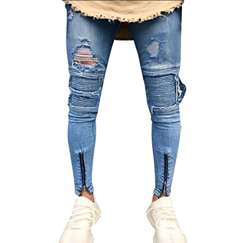 GreatestPAK Pants Slim Fit Herren Enge Zipper Hosen Denim Hosen Männer Biker Denim Jeans Skinny Hosen Distressed Rip Hosen -