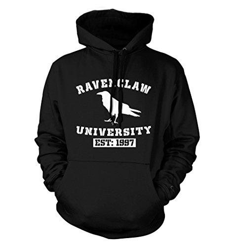 net-shirts Ravenclaw Hoodie Kapuzenpullover mit Aufdruck im College Style inspired by Harry Potter, Größe S, Schwarz