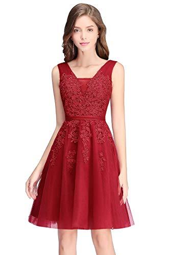 Robe de Gala Courte Chic Appliques Elégante sans Manche Dos Nu Florale Ajourée Swing Rockabilly Dentelle Rouge 32