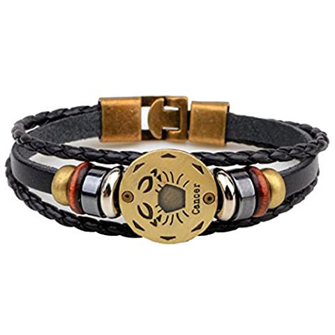 Axibi Élégant Femme Hommes 12 Constellations Bracelet en cuir perlé tissé Pendentif Bijoux Cadeaux (Cancer)