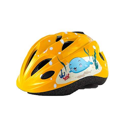 Casco da bicicletta per bambini con luci a LED casco casco casco di sicurezza equipaggiamento di guida regolabile, casco per bambini-yellow
