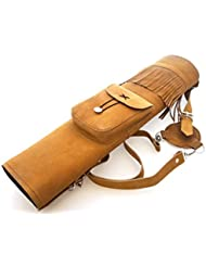 Tir à l'arc traditionnel en daim en cuir arrière Quiver.