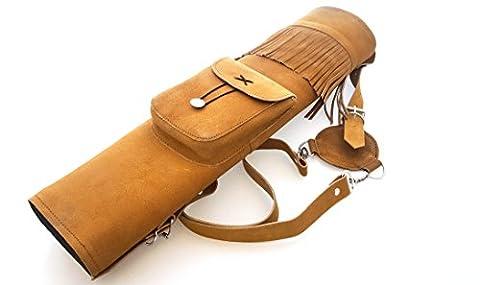 Tir à l'arc traditionnel en daim en cuir arrière Quiver., Honey Brown