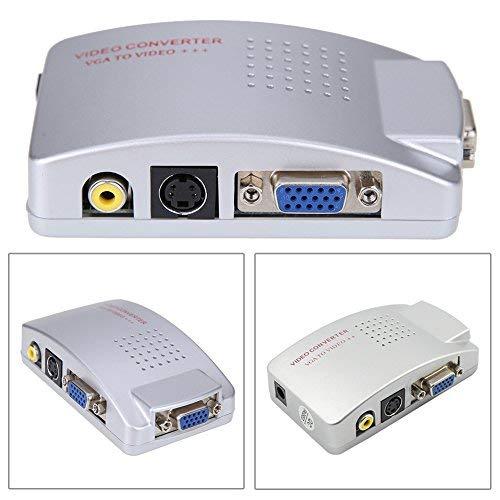 Amazingdeal365 PC portátil VGA a TV RCA conversor de vídeo compuesto S-Video caja