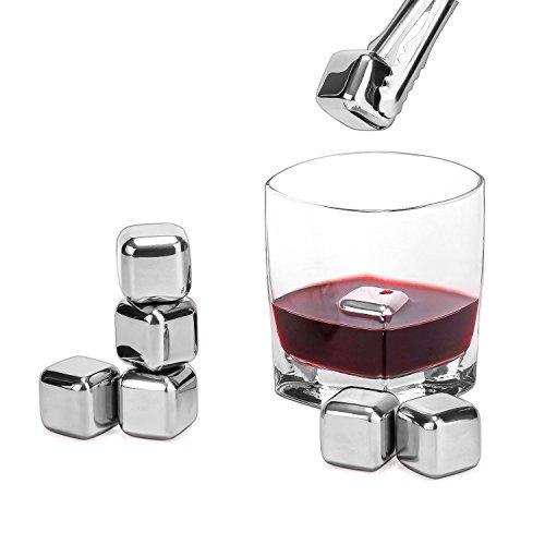 Whisky Stones, Cozyswan Edelstahl Eiswürfel Wiederverwendbare Ice Stones Eis Steine mit Zangen Eiswürfelset 4-8 (8 Stück)