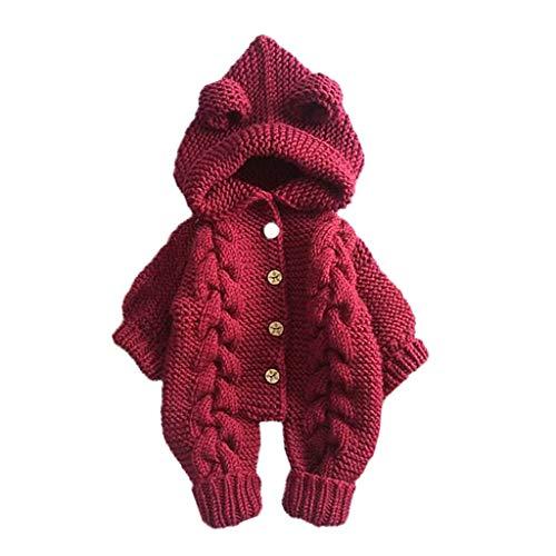 Livoral Baby Winter Even Jacke Neugeborenes Baby Mädchen Jungen Winter Warmer Mantel Strickjacke Mit Kapuze Overall(Rot,12-18 Monate)