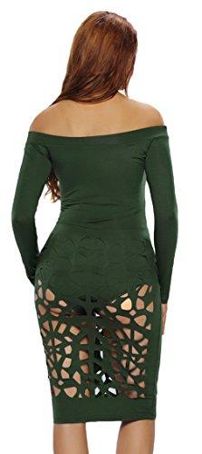 EOZY Combinaison Moulant Creux Romper Robe De Cocktail/Soirée Clubwear Vert