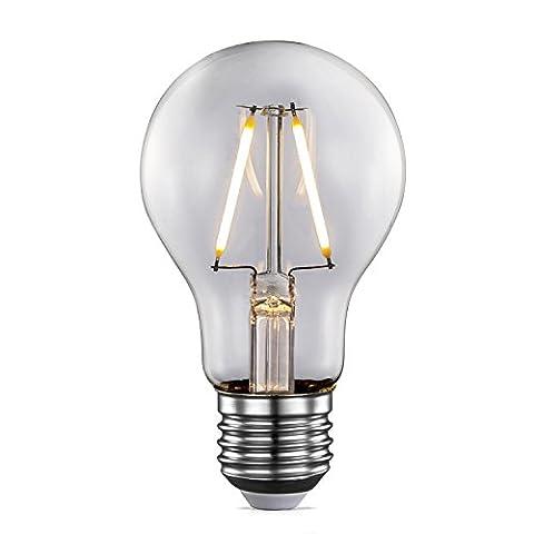 TRANSTEC® Vintage LED Filament Bulb Retro Style Filament A60 - 2W E27 Bulb Base, Clear Warm White Light 2700K, LED Edison Bulb Non-dimmable[Energy Class A++]
