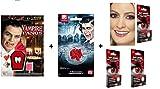 Zeus Party Kit Travestimento Halloween Vampiro Zombie- 2 Lenti a Contatto Colorate Rosse + 2 Denti canini Finti + 10 Capsule di Sangue