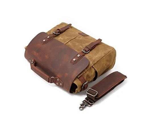 LAIDAYE Geschäfts-Aktenkoffer-Handtaschen-Mann-Beutel Retro- Schulter Kurier-Beutel Bewegliches Briefträgerpaket Black