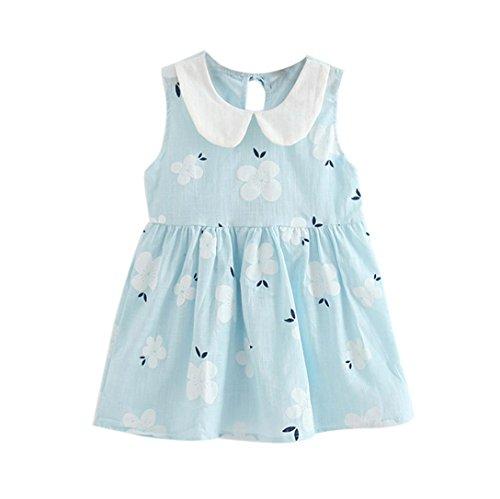 LMMVP-Kids Toddler Girls Summer Dress Sleeveless Floral Princess Dress Baby Girls Beach Party Sundress 2-6 Years