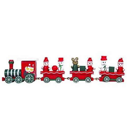 Bellelove〗 Weihnachtshölzerne Zugdekoration, Weihnachtsdekorationen, Weihnachtsbaum, Kleiner Zug, Kinderfeiertag, Karneval, Weihnachten (rot, one Size)