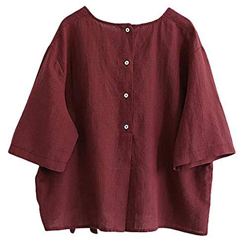 ESAILQ Frauen Baumwolle Leinen Bluse Tun Shirt mit Bogen (XL, Rot)
