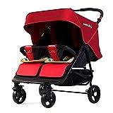 XUE Baby-Kinderwagen, Multifunktions-Zwillinge doppelt faltbar, um flach mit 5-Punkte-Sicherheits-System und Multi-Positon Light-Siegel Extended Canopy Easy One Hand Fold liegen