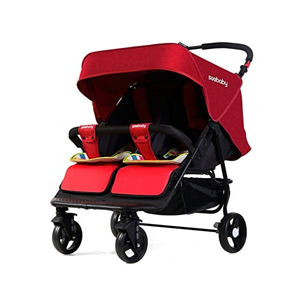 XUE Baby stroller, multi-function twins double foldable to lie flat with 5-Point Safety System and Multi-Positon Reclining Seat Extended Canopy Easy One Hand Fold XUE ∵ Wipeable and washable design for easier cleaning. ∵ Convertible high chair becomes booster and toddler seat. ∵ Keeps little ones secure with 3-point and 5-point harnesses. 1