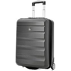Aerolite 55x40x20 Tamaño Máximo de Ryanair y Vueling ABS Trolley Maleta Equipaje de mano cabina ligera con 2 ruedas, Gris Oscuro