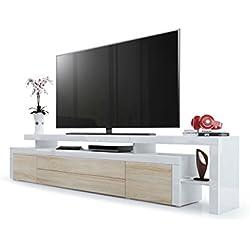 Meuble TV Bas Leon V3, Corps en Blanc Haute Brillance/Façades en Chêne Brut avec Une bodure en Blanc Haute Brillance