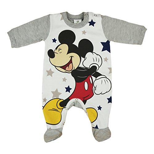 Jungen BABY-STRAMPLER GEFÜTTERT von Mickey Mouse in GRÖSSE 56, 62, 68, 74, 80, weiß-grau, Baby-Schlafanzug LANG-ARM mit Druck-Knöpfen, Spiel-Anzug als Geschenk für Neugeborene Size (Pooh Der Strampelanzug Bär)