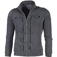 Men Jacket Home Sudadera para Hombre Cuello Alto Abrigo con Cremallera Chaquetas Rompevientos Casuales (Color : Dark Gray, Size : XS)
