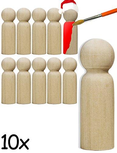 HOMETOOLS.EU® - 10x Holz-Figuren | gedrechselte Echtholz Rohlinge zum Basteln, Bemalen, Bekleben | Weihnachtsmänner, Engel, Puppen | 6 x 2cm, 10er SET
